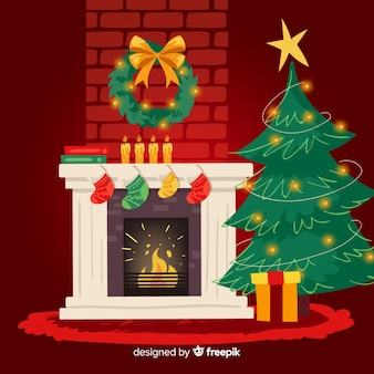 Illustration de cheminée de noël