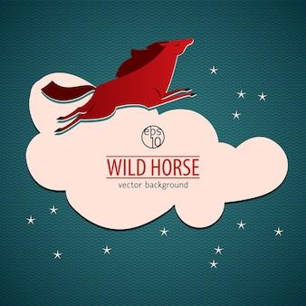 Illustration de cheval sauvage rouge