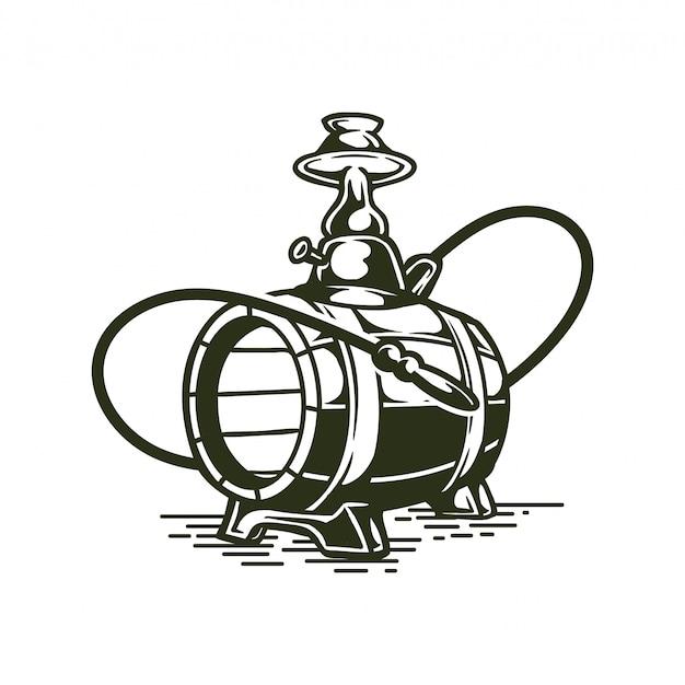 Illustration de chicha ou de narguilé vintage