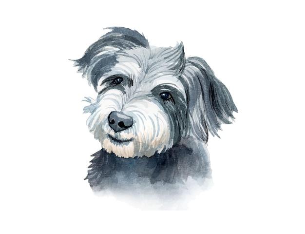 Illustration de chien aquarelle peinte à la main