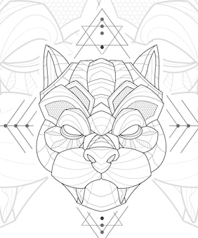 Illustration de chien carlin animal stylisé zentangle lineart