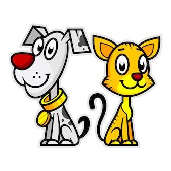 Illustration chien et chat souriant, format eps 10