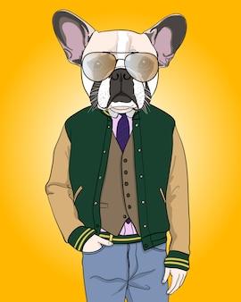 Illustration de chien cool dessiné à la main