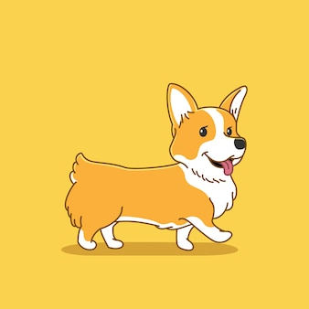 Illustration de chien corgi mignon