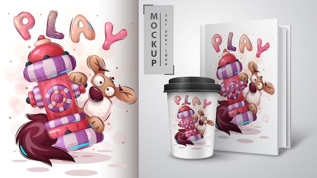 Illustration de chien mignon et merchandising