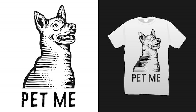 Illustration de chien tshirt design