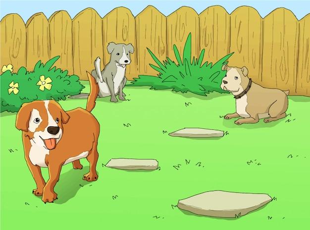 Illustration de chiens dans le parc
