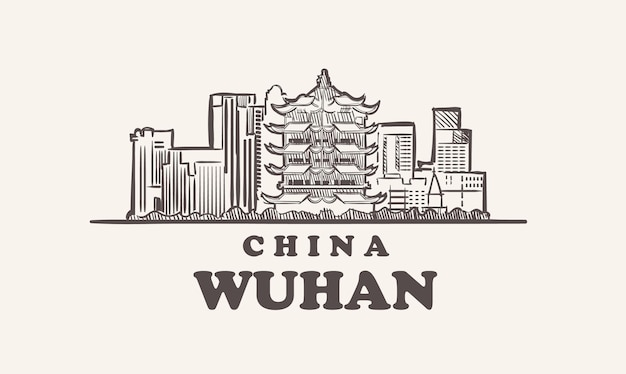 Illustration de chine dessinée à la main de croquis de paysage urbain de wuhan