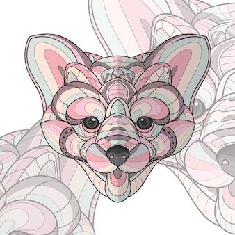 Illustration de chiot à colorier animal stylisé zentangle