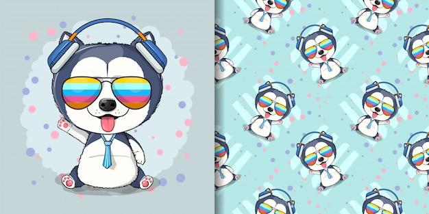 Illustration de chiot husky dessin animé mignon pour les enfants