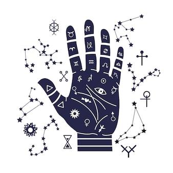 Illustration de la chiromancie avec la main et les zodiaques