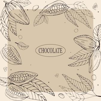 Illustration de chocolat avec des fèves de cacao