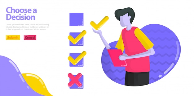 Illustration choisir une décision. les hommes remplissent des enquêtes et des examens. spécifie l'option check ou cross.