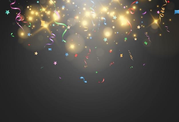 Illustration de la chute des confettis sur transparent