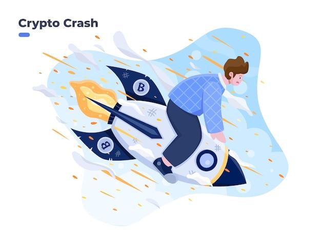 Illustration de la chute de la crypto-monnaie crash de la crypto 2021 crash de la fusée bitcoin effondrement du prix de la crypto le prix de la volatilité de la crypto-monnaie rugit rapidement et s'effondre, causant une perte énorme aux investisseurs