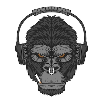 Illustration de cigarette casque gorilla