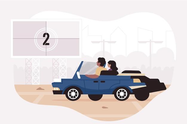 Illustration de cinéma drive-in
