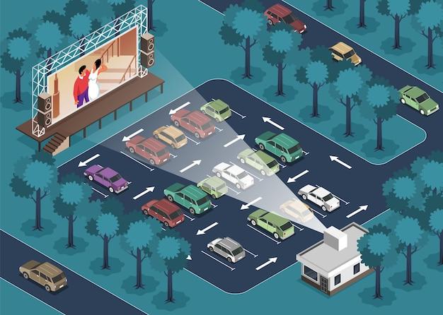 Illustration de cinéma en plein air isométrique