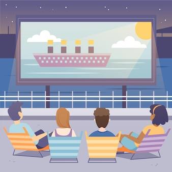 Illustration de cinéma en plein air