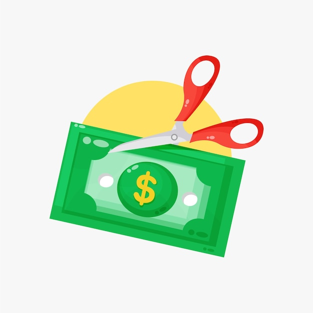Illustration de ciseaux coupant des billets de banque