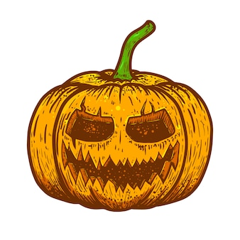 Illustration de citrouille effrayante d'halloween sur fond blanc. élément pour affiche, carte, bannière, flyer. illustration