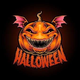 Illustration de citrouille effrayante halloween