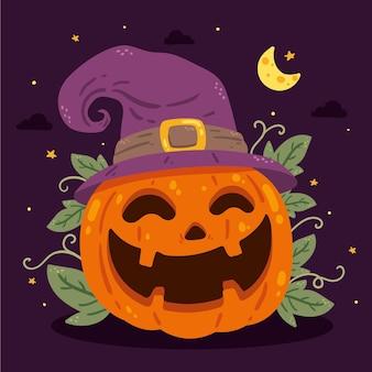 Illustration de citrouille halloween plat dessiné à la main