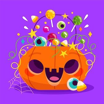 Illustration de citrouille d'halloween plat