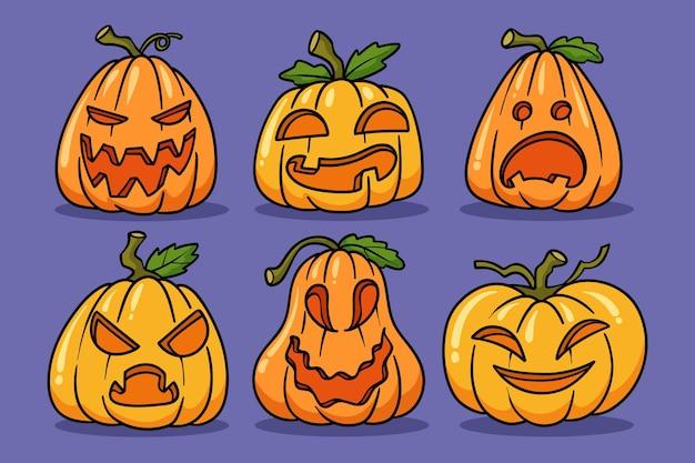 Illustration de citrouilles d'halloween dessinées à la main
