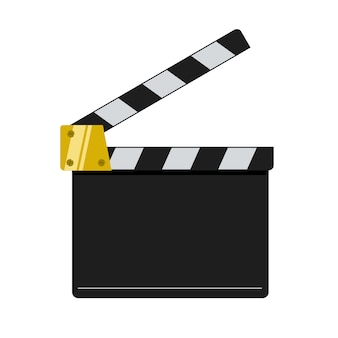 Illustration de clap de cinéma sur fond blanc.