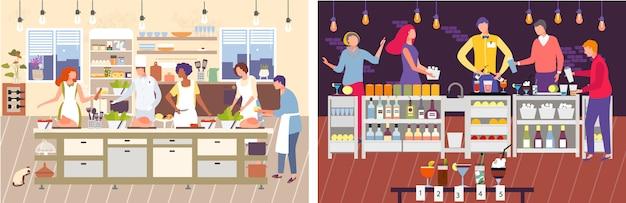 Illustration de classe de maître de cuisine. personnage de dessin animé homme femme cuisiner des aliments avec le chef, barman prépare des cocktails