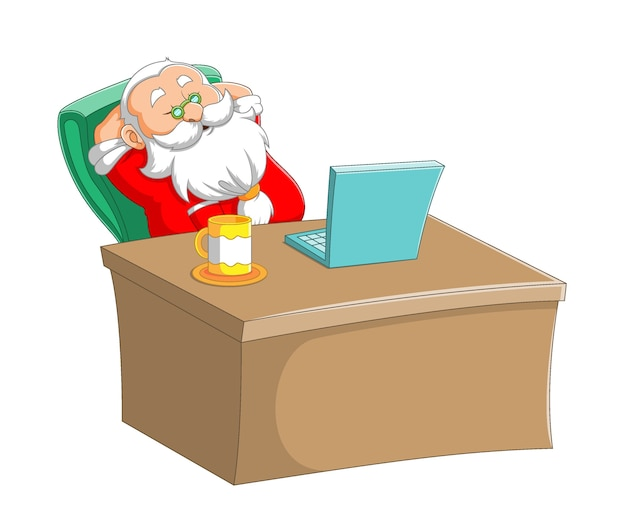 L'illustration de la clause du père noël dormant dans le bureau et assis devant son ordinateur portable