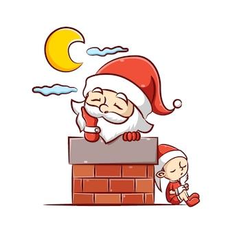 L'illustration de la clause du père noël et le petit elfe dort sous la lune brillante dans la cheminée