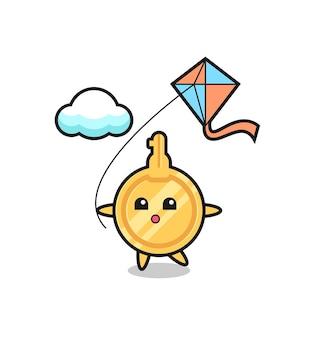 L'illustration clé de la mascotte joue au cerf-volant, design mignon
