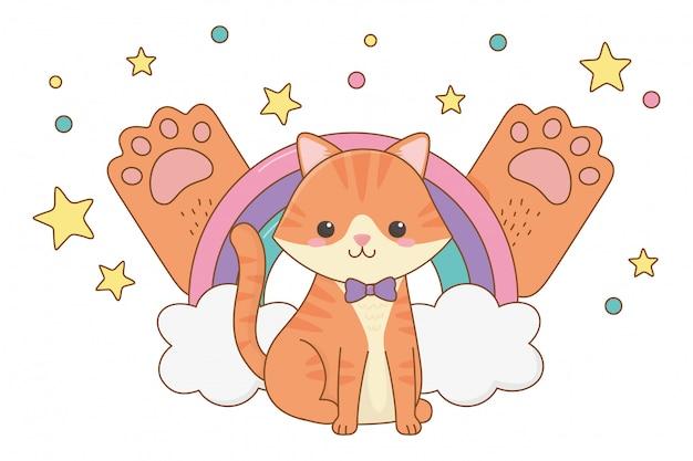 Illustration de clipart dessin animé chat isolé