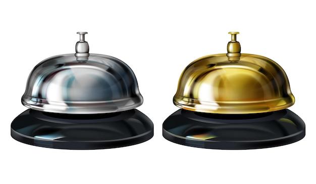 Illustration de cloches de service représentant un service de conciergerie 3d réaliste en hôtel ou une réception en or