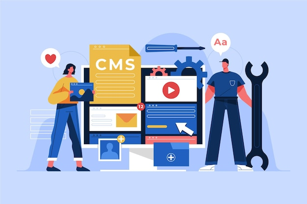 Illustration de cms design plat