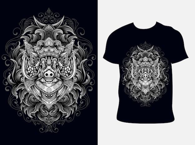 Illustration de cochon barong avec conception de t-shirt