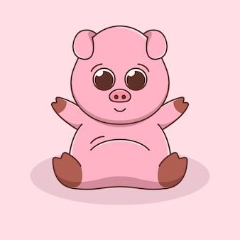 Illustration de cochon mignon au design plat