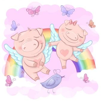 Illustration de cochons de dessin animé mignon sur un arc en ciel