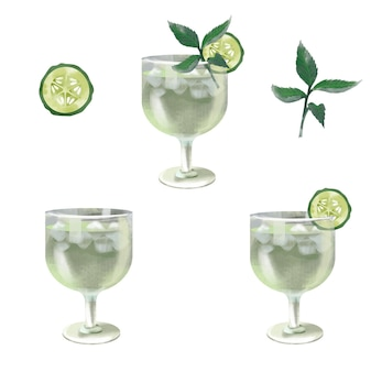 Illustration de cocktail aquarelle concombre menthe martini