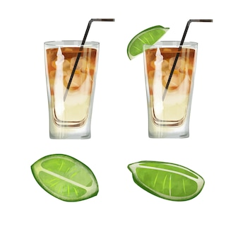 Illustration de cocktail aquarelle eltropo