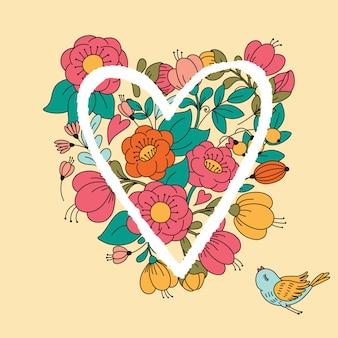 Illustration avec coeur de fleur.