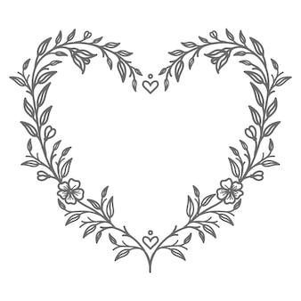 Illustration de coeur floral abstrait et décoratif dessiné à la main