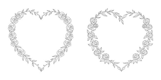 Illustration de coeur floral rose avec dessin au trait et concept de forme de coeur