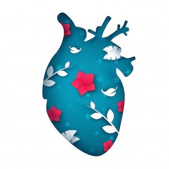 Illustration de coeur de papier dessin animé