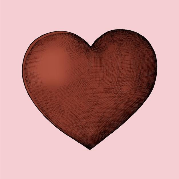 Illustration de coeur rouge dessiné à la main