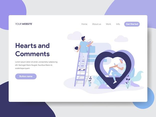 Illustration de coeurs et commentaires pour les pages web