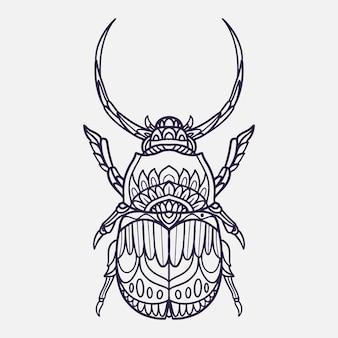 Illustration de coléoptère corne avec style doodle ornemental