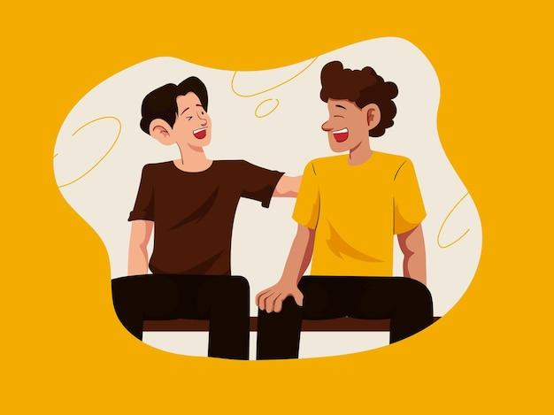 Illustration de collaboration heureuse ludique jaune